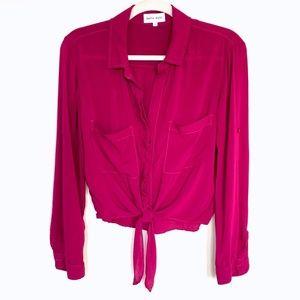 Bella Dahl Fucshia Pink Rayon Tie Front Blouse - S